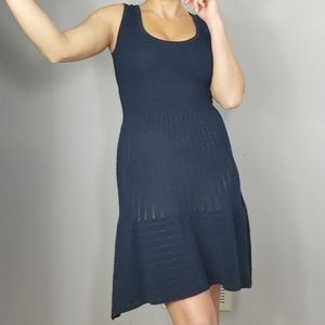 Autumn Cashmere Scoop Neck Ribbed Knit Navy Dress